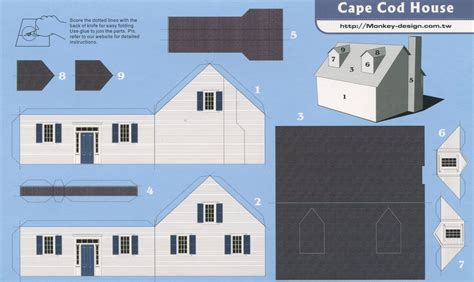 How To Make A 3d House With Paper - cape cod house cut out postcard date circa 2000s