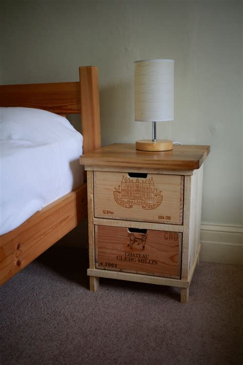 Handmade Bedside Tables - rustic wine box bedside table handmade