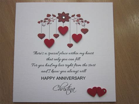 Card Verses For Handmade Cards - handmade cards for anniversary weneedfun