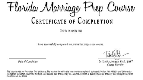 premarital counseling certificate of completion template professional certificate of completion template images