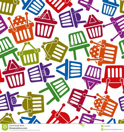 seamless pattern with shopping icons shopping basket icons seamless background stock vector