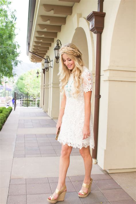 Dress Wedges Flow Gold white summer dress and gold wedges