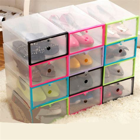clear shoe storage boxes 6pcs diy thickening rectangle finishing clear plastic