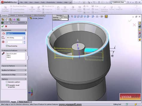 circular pattern solidworks youtube solidworks dersleri 7 circular pattern youtube