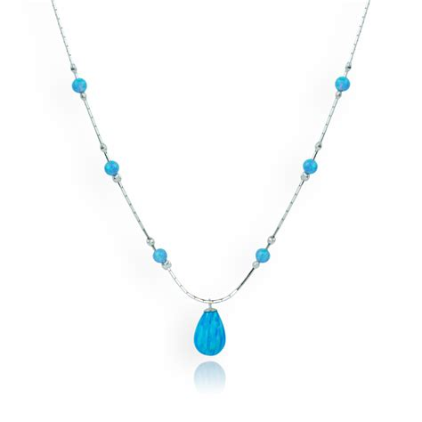 blue opal necklace blue opal teardrop necklace lavan designer jewellery