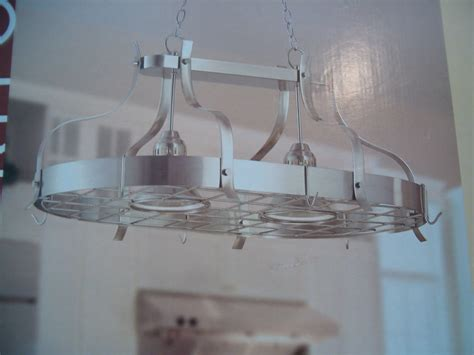 Kitchen Pot Hanging Rack With Lights Kitchen Island Pot Rack Light Brushed Nickel Bar Hanging Pendant Chandelier 2 Ebay