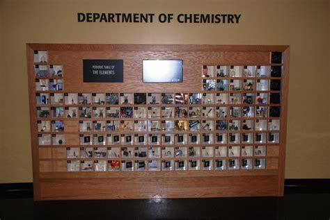 This periodic table of the elements has a physical sample