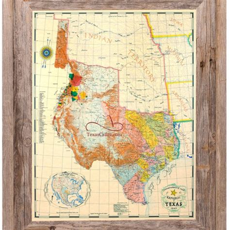 republic of texas map buy republic of texas map 1845 framed historical maps and flags home office decor