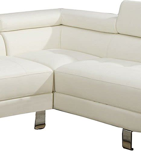poundex white leather modern sectional sofa poundex 2 pieces faux leather sectional right chaise sofa