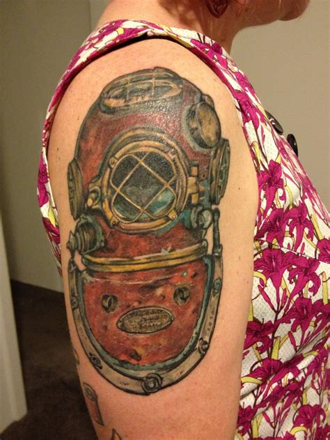 deep sea tattoo sea diver helmet these colors all