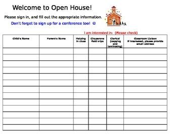 open house back to school night sign in sheet by