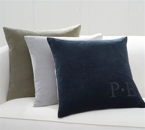 Pottery Barn Linen Pillow Covers by Monogrammable Velvet Pillow Cover With Linen Back
