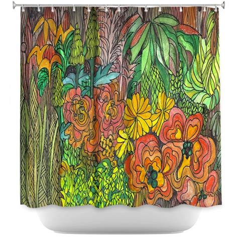 Orange Green Curtains Unique Shower Curtains Jungle Tropical Orange Green Yellow Maeve Wright Tropical Orange