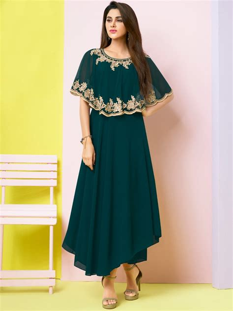 girls dess plazo dess photo sasya bottle green embroidered kurti arihant 8113