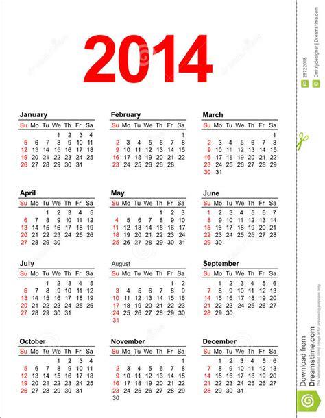 Calendario Americano Calendario Americano 2014 Nel Vettore Fotografie Stock