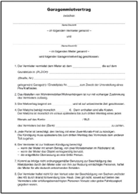 Kostenlose Vorlage Untermietvertrag mietvertrag garage formulare gratis