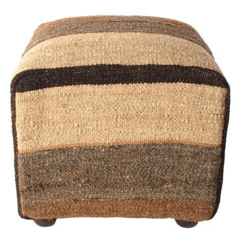 kilim ottoman brown gray ecru modern stripe kilim ottoman kathy kuo home