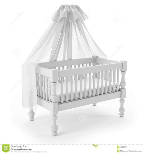 white baby crib with canopy isolated on white background