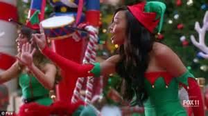 Glee s lea michele naya rivera and chris colfer are santa s helpers
