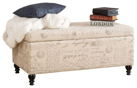 script ottoman cerise fabric storage ottoman bench with french script
