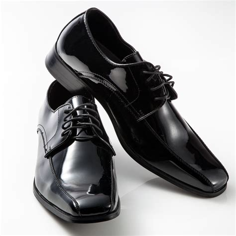 tuxedo shoes patent leather fashion square toe mens