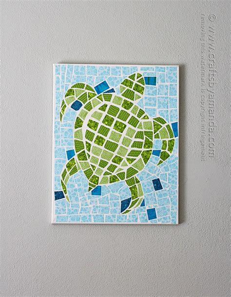 fabric crafts canvas mosaic turtle using fabric and canvas crafts by amanda