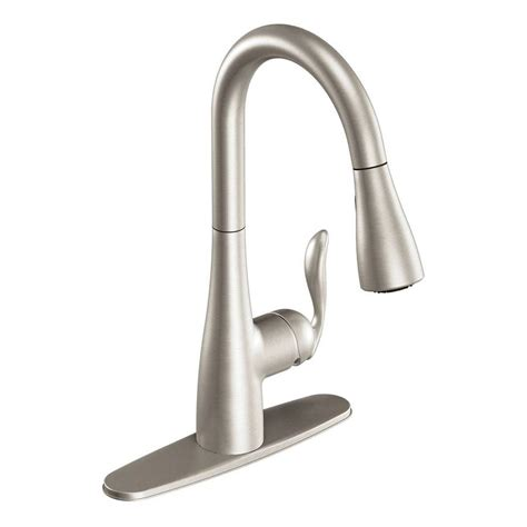 moen kitchen faucets lowes shop moen arbor stainless 1 handle pull deck mount kitchen faucet at lowes