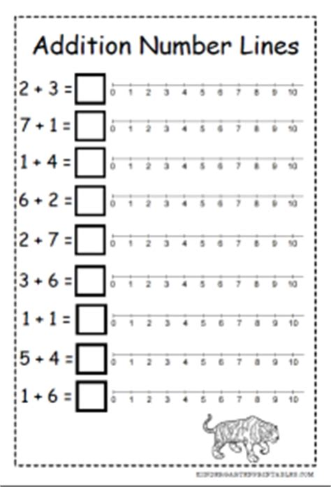 printable number line for addition and subtraction number line addition worksheets kindergarten printables