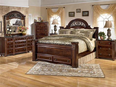 ashley furniture  gabriela queen king poster storage bed frame bedroom set ebay
