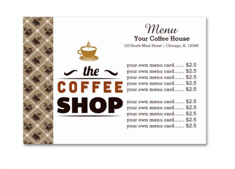 20 coffee menu templates free sle exle format