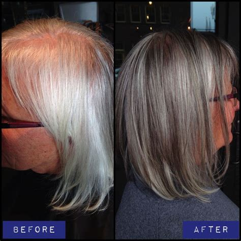 how to blend grey hair with highlights pictures of gray hair with lowlights