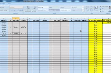 Extreme Couponing Alphabetical Spreadsheet For Coupon Inventory Tracking Youtube Coupon Excel Spreadsheet Template