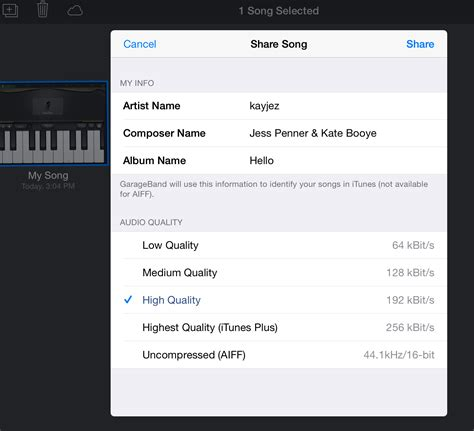 Garageband Export Selection Exporting Garageband To Drive On The St