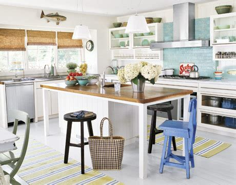Beach Cottage Kitchen Ideas by Shorely Chic Blue Glass Subway Tile