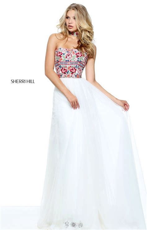sherri hill strapless tulle and lace body con dress sherri hill 50873 long a line strapless lace tulle prom
