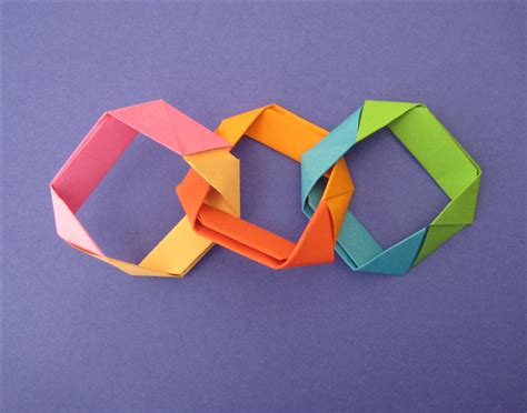 Origami Chain Link - how to make an origami decorative chain
