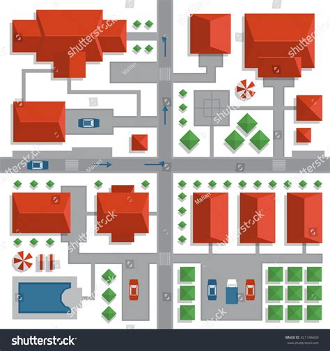 best view map top view map city streets houses stock vector 321746603