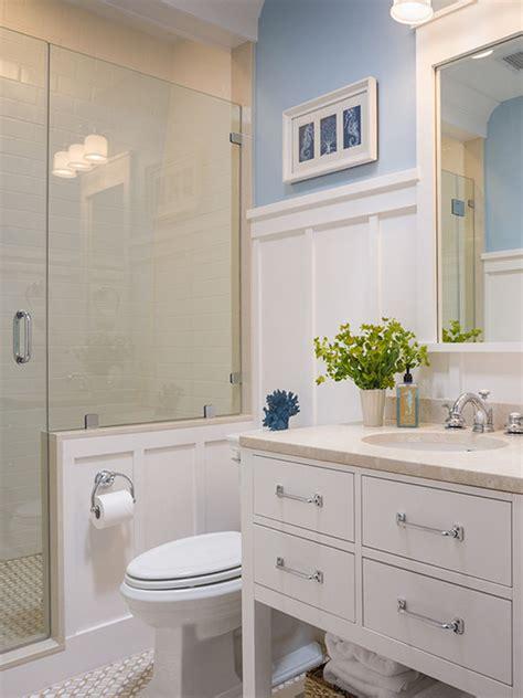 ideas   bathroom  subway tile  chair rail