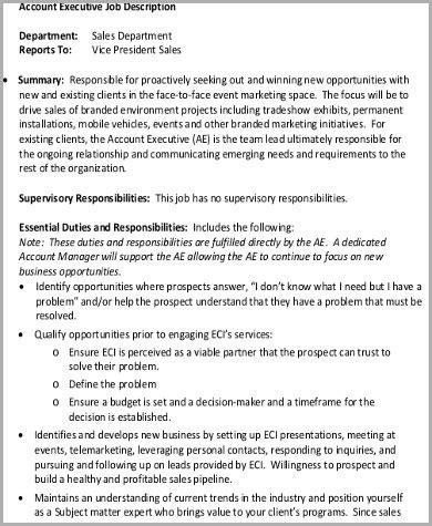 sales marketing executive description sales marketing executive description sle 7