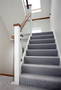 walnut and white stairs with glass