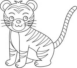 Baby Tiger Outline by Colorable Tiger Free Clip