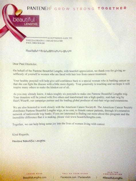 charity acceptance letter how to donate your hair to charity like a chion and