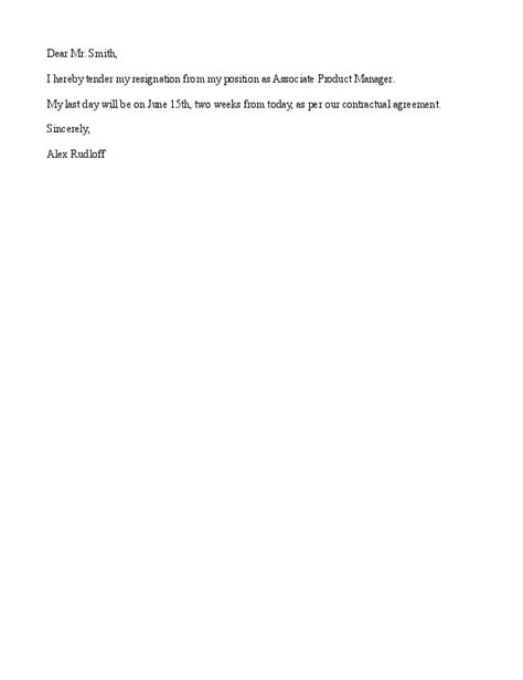 Simple Letter Of Resignation Sles by Rupert Neilsen Simple Resignation Letter
