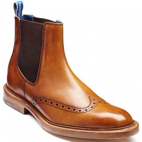 barker mens pearce cedar calf leather brogue chelsea boot