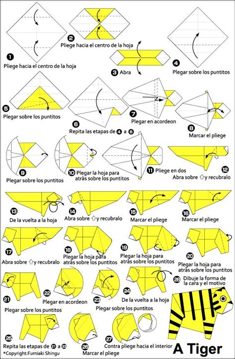 Origami Tiger Diagram - 46 best origami and paper folding images on