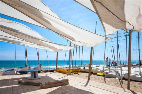 sail shaped awnings awnings in sails shape covering relax area on beach stock
