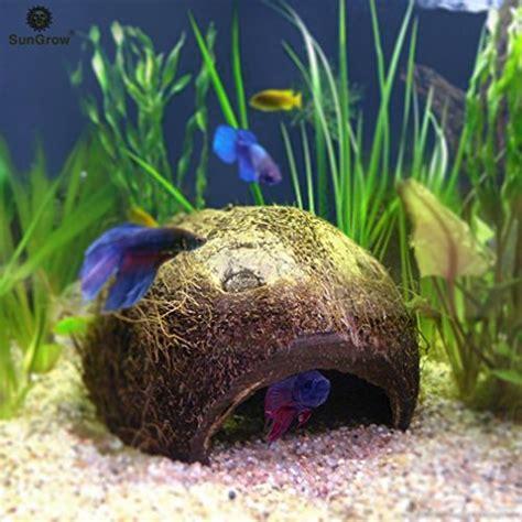 Natrual Made Fish Nutrusi Usa sungrow betta cave habitat made from coconut