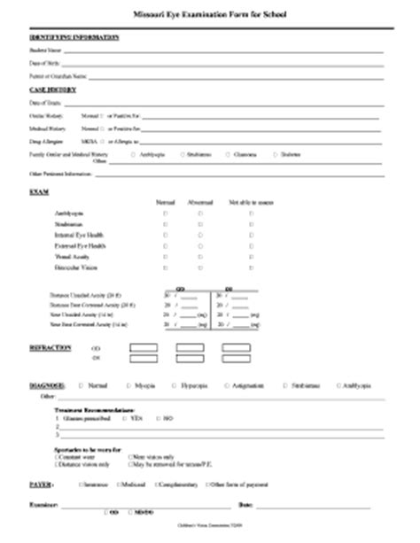 Basic Eye Exam Form Sheets Pictures To Pin On Pinterest Eye Test Sheet Pictures To Pin On Eye Form Template