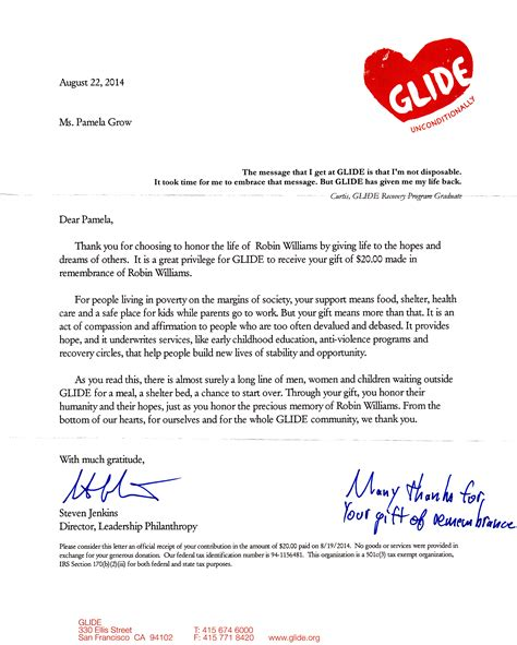 Acknowledgement Letter With Thanks sle nonprofit gift acknowledgement letter lamoureph