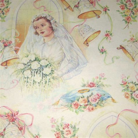 Wedding Gift Wrap Paper - vintage wedding wrapping paper or gift wrap by grandmothersattic